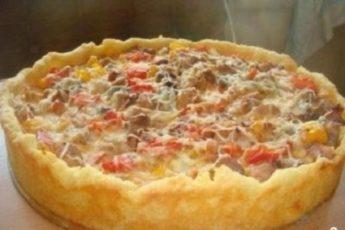 Открытый мясной пирог с картофельным тестом на праздничный стол!